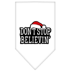 Mirage Pet Products Dont Stop Believin Screen Print Bandana White Large