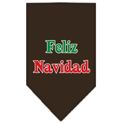 Mirage Pet Products Feliz Navidad Screen Print Bandana Cocoa Large