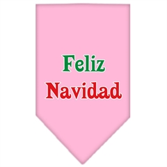 Mirage Pet Products Feliz Navidad Screen Print Bandana Light Pink Large