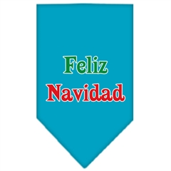 Mirage Pet Products Feliz Navidad Screen Print Bandana Turquoise Small