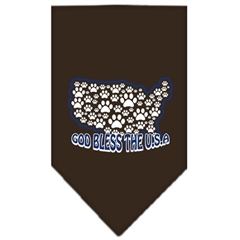 Mirage Pet Products God Bless USA Screen Print Bandana Cocoa Small
