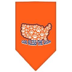 Mirage Pet Products God Bless USA Screen Print Bandana Orange Small
