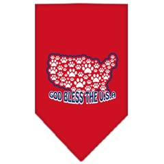 Mirage Pet Products God Bless USA Screen Print Bandana Red Small