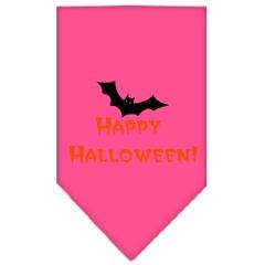 Mirage Pet Products Happy Halloween Screen Print Bandana Bright Pink Large