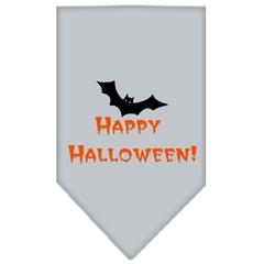 Mirage Pet Products Happy Halloween Screen Print Bandana Grey Large