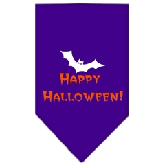 Mirage Pet Products Happy Halloween Screen Print Bandana Purple Small