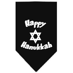 Mirage Pet Products Happy Hanukkah Screen Print Bandana Black Small