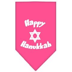 Mirage Pet Products Happy Hanukkah Screen Print Bandana Bright Pink Large