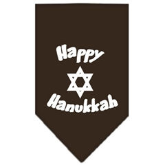 Mirage Pet Products Happy Hanukkah Screen Print Bandana Cocoa Large