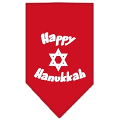 Mirage Pet Products Happy Hanukkah Screen Print Bandana Red Large