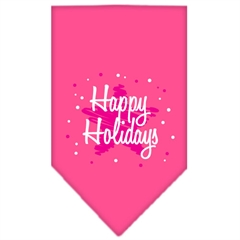 Mirage Pet Products Scribble Happy Holidays Screen Print Bandana Bright Pink Small
