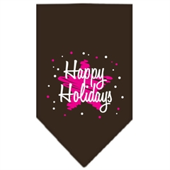 Mirage Pet Products Scribble Happy Holidays Screen Print Bandana Cocoa Large