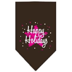 Mirage Pet Products Scribble Happy Holidays Screen Print Bandana Cocoa Small