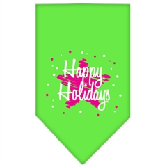 Mirage Pet Products Scribble Happy Holidays Screen Print Bandana Lime Green Large