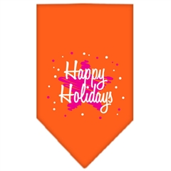 Mirage Pet Products Scribble Happy Holidays Screen Print Bandana Orange Large