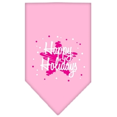 Mirage Pet Products Scribble Happy Holidays Screen Print Bandana Light Pink Large