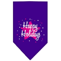 Mirage Pet Products Scribble Happy Holidays Screen Print Bandana Purple Small