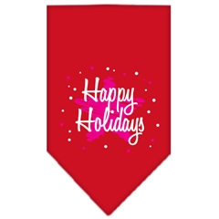 Mirage Pet Products Scribble Happy Holidays Screen Print Bandana Red Small