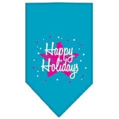 Mirage Pet Products Scribble Happy Holidays Screen Print Bandana Turquoise Small
