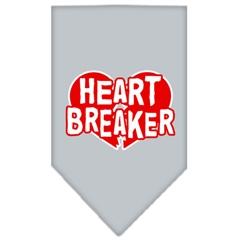 Mirage Pet Products Heart Breaker Screen Print Bandana Grey Large