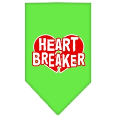 Mirage Pet Products Heart Breaker Screen Print Bandana Lime Green Large