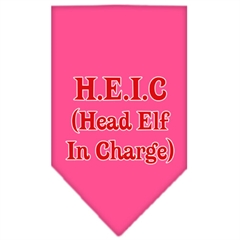 Mirage Pet Products Head elf In Charge Screen Print Bandana Bright Pink Small