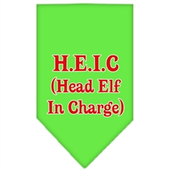 Mirage Pet Products Head elf In Charge Screen Print Bandana Lime Green Small
