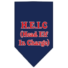 Mirage Pet Products Head elf In Charge Screen Print Bandana Navy Blue Small
