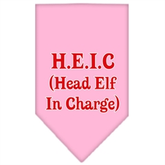 Mirage Pet Products Head elf In Charge Screen Print Bandana Light Pink Small