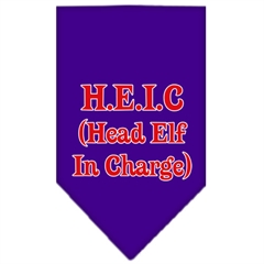 Mirage Pet Products Head Elf In Charge Screen Print Bandana Purple Large
