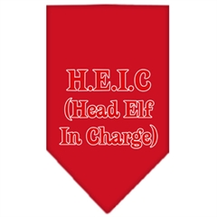 Mirage Pet Products Head elf In Charge Screen Print Bandana Red Large