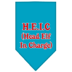 Mirage Pet Products Head elf In Charge Screen Print Bandana Turquoise Large