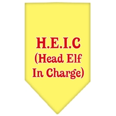 Mirage Pet Products Head elf In Charge Screen Print Bandana Yellow Large