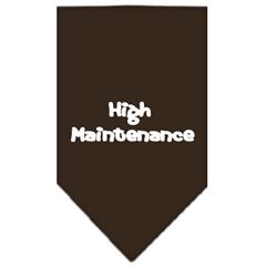 Mirage Pet Products High Maintenance Screen Print Bandana Cocoa Large