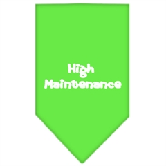 Mirage Pet Products High Maintenance Screen Print Bandana Lime Green Large