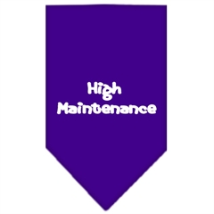 Mirage Pet Products High Maintenance Screen Print Bandana Purple Large