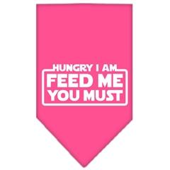 Mirage Pet Products Hungry I Am Screen Print Bandana Bright Pink Large