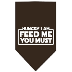 Mirage Pet Products Hungry I Am Screen Print Bandana Cocoa Small