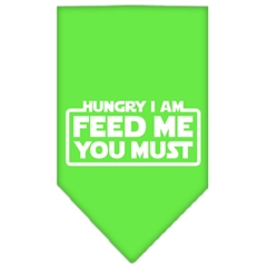Mirage Pet Products Hungry I Am Screen Print Bandana Lime Green Small