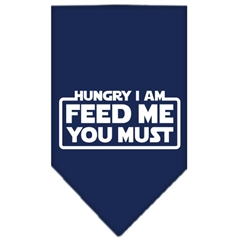 Mirage Pet Products Hungry I Am Screen Print Bandana Navy Blue large