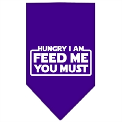 Mirage Pet Products Hungry I Am Screen Print Bandana Purple Large