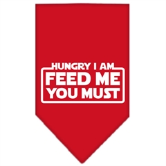 Mirage Pet Products Hungry I Am Screen Print Bandana Red Large