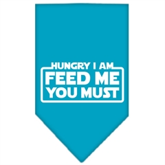 Mirage Pet Products Hungry I Am Screen Print Bandana Turquoise Small