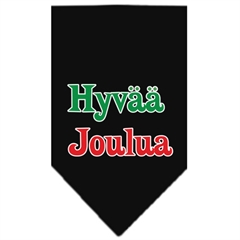Mirage Pet Products Hyvaa Joulua Screen Print Bandana Black Large