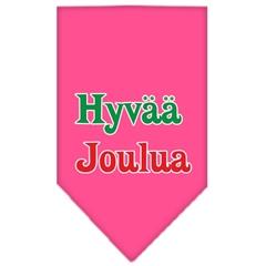 Mirage Pet Products Hyvaa Joulua Screen Print Bandana Bright Pink Small