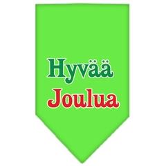 Mirage Pet Products Hyvaa Joulua Screen Print Bandana Lime Green Large