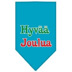 Mirage Pet Products Hyvaa Joulua Screen Print Bandana Turquoise Large