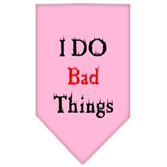Mirage Pet Products I Do Bad Things  Screen Print Bandana Light Pink Small