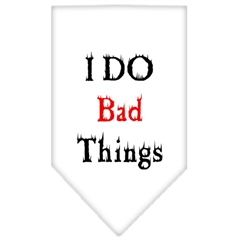 Mirage Pet Products I Do Bad Things  Screen Print Bandana White Small