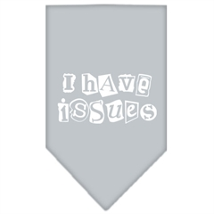 Mirage Pet Products I Have Issues Screen Print Bandana Grey Small
